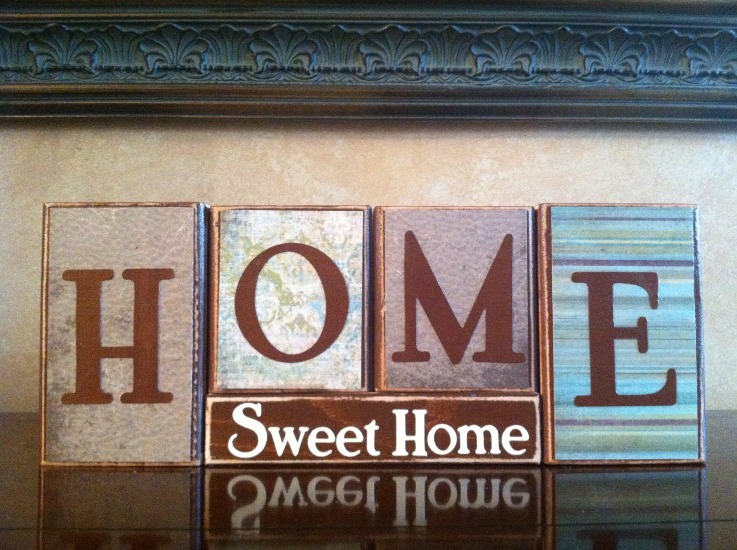 Home sweet wood blocks sign decor fireplace