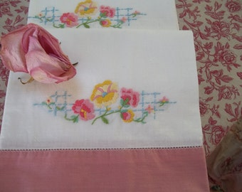 Vintage shabby chic cottage chic hand  embroidered pink, green, white colorful pillowcases by hermina's cottage