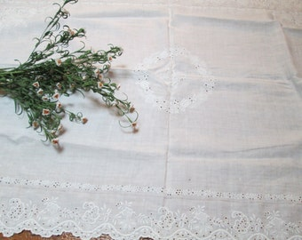vintage antique  french lace tablecloth,wedding cak  white cotton tablecloth, white embroidered lace tablecloth, shabby chic linens hermina