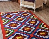 5.45ftX4.42ft, Accent Floor Rug,Large Area Rug, Diamond Pattern Rug,Tribal Rug.Vintage Hand Woven Rug, Pure Organic Wool Rug , Boho Gypsy