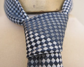 vintage English TIE narrow Tie,  60s mens ties,  skinny tie, check tie. slim ties,  LONDON tie  SOMBER shades of grey