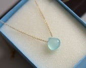 aqua solitaire necklace, March birthstone necklace, Valentine's gift, bridesmaid gift,