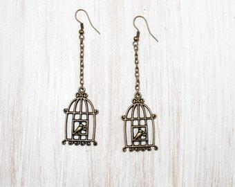 Bird Cage Earrings, Antique Brass Bronze Earrings, Vintage Looking Earrings, Gift for Her
