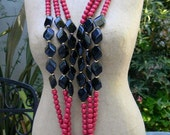 RESERVED FOR ANA Trifari Long Triple Strand Plastic Magenta Beads with Black and Gold Beaded Accents