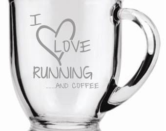 I Love Running and Coffee Coffee Mug Sand Carved (sand blasted, etched)