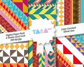 "Digital Scrapbook Paper, 6 files Instant Download Scrapbooking, 6 jpg files 12""x12"", Color Carnival Ethnic Geo, DIY Craft Kit Digital Paper"