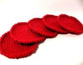 Crochet Christmas coasters set of five Cherry red home decor Handmade sale