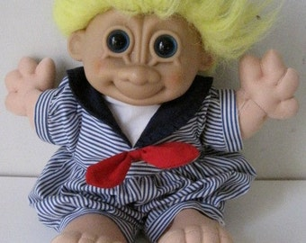 """Vintage Doll RUSS Size 13"""" Yellow Hair Blue Eyes"""