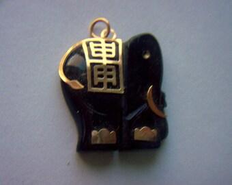 Vintage Oriental Stone Elephant Pendant Charm    # X 16