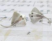 Stingray earrings - antique finish silver post earrings, surgical steel earrings