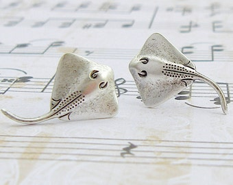 Stingray earrings - antique finish silver post earrings, surgical steel earrings