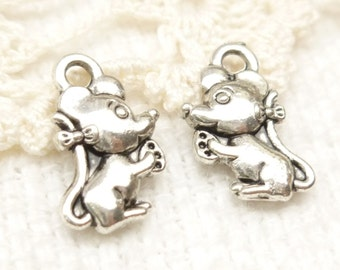Tiny Mouse Eating Cheese Charms, Antique Silver (8) - S108