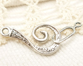 Swirl  Hook and Eye Closure, Antique Silver (10 sets) - SF62