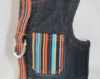 Denim striped dog harness - Size XXS, XS, S, M (Made to order)