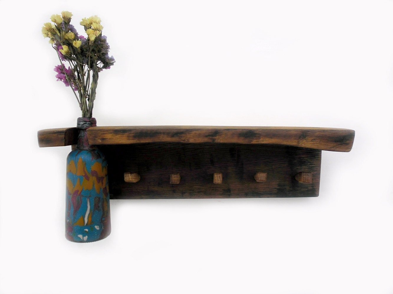 Wooden Key Holder With A Shelf And Vase By Thirdcloudtotheleft