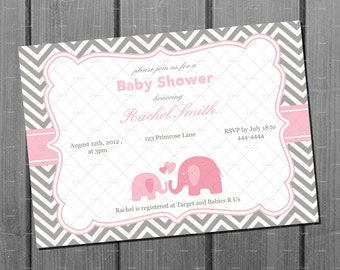 Pink and Grey Chevron Elephant Girl Baby Shower Invitation Invite and FREE Thank You Card Printable