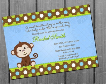 Monkey Boy Baby Shower Party Invitation and FREE Thank You Card - Jungle Baby Boy Shower Invite Blue Brown Dot Printable