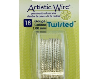 18ga Artistic Wire Twisted Silver Plated NonTarnish Wire 6 Foot SALE