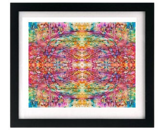 8.5 x 11 Pink Symmetrical Fractal Abstract Colorful Pyshcedelic Art Print