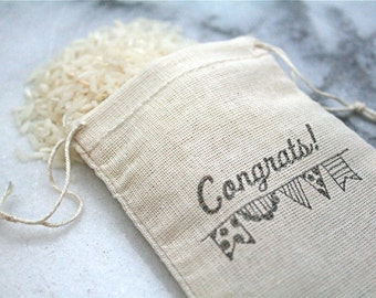 Mini wedding favor bag. 50 muslin bags, 2x4, hand stamped. Congrats with penant design on natural cotton bag..