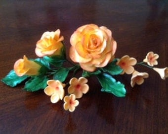 YELLOW / ORANGE ROSES Gum Paste Roses Spray / Gum Paste Flowers / Cake Topper Spray