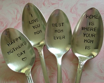 Mom  collection of 4 vintage recycled silverware hand stamped spoons