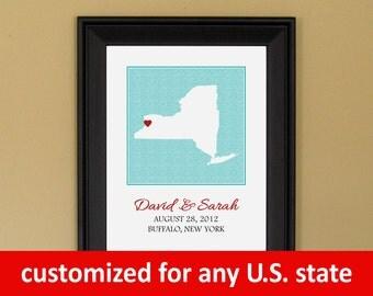 Unique Engagement Gift - 1st Wedding Anniversary - Personalized Wedding Art - Custom New York State Map - 11 x 14 (2015)