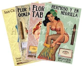 Set of FOUR Cuban CIGAR Vintage Pinup CUBA Travel Poster Print 11x17