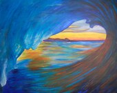 The Wave- Original Acrylic Painting on 24x30 inch gallery wrapped canvas Ready to Hang