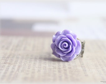 Purple rose ring, lucite flower cabochon on vintage style filigree adjustable brass ring, victorian inspired jewelry