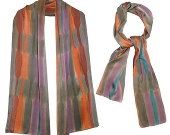 Hand-painted Charmeuse 100% Satin Silk Scarf