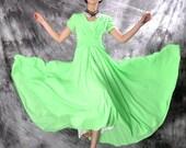 green chiffon maxi dress,circle dress,long dress,wedding dress,beach dress,evening dresses