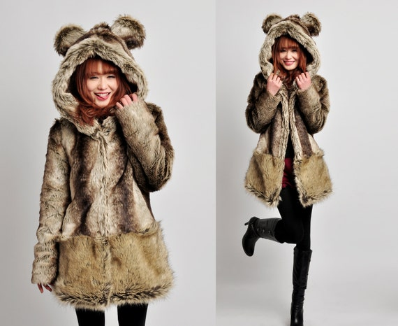 faux fur coat---wool jacket  winter jacket winter dress wool   bear  jacket wool dress wool coat  Loaded parent-child