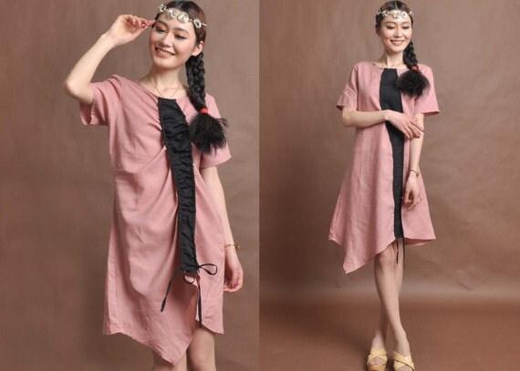 linen maxi dress---irregular dress pink dress