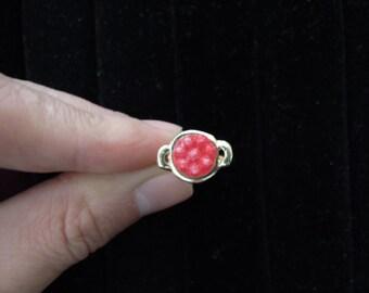 Miniature Valentine raspberry  metal rings