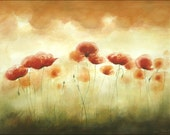 Huge Original Watercolor Painting, Song of  Red Poppies, Poppy Art, Big Painting, 16 x 20 inches, Warm Tones - ARTDORA