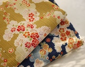 Japanese Flower Fabric, Cotton Fabric, Shabby chic Fabric, Flower Cotton, Yellow Dark Blue Fabric, Holiday Fabric - Vintage Looking 1/2 yard