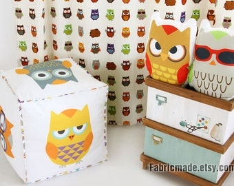Cute Colorful Owl Cotton Linen Fabric Kids Children Fabric Curtain Quilting Bags Fabric- One panel 140x100cm