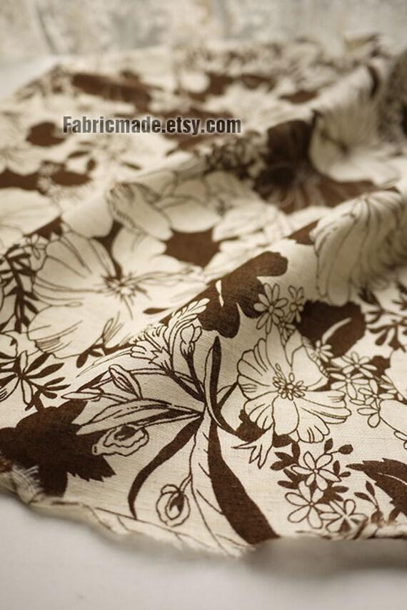Large Brown Flower Cotton Fabric Natural Beige Chrysanthemum Flower Fabric - Fabric by yard 1/2 yard
