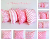 "Pink pillow cover 16"" x 16"" One cushion cover baby pink and white throw pillow cover"