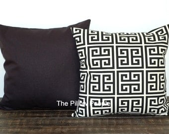 Black throw pillow covers Pair of two greek key and solid black cushion sham modern decor