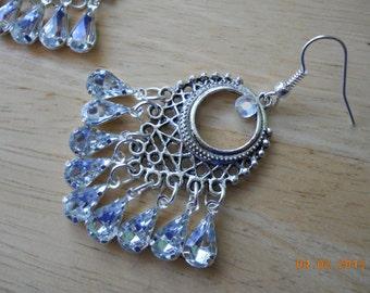 """1 1/2""""  long Silver and Clear Rhinestone Chandelier Earrings"""