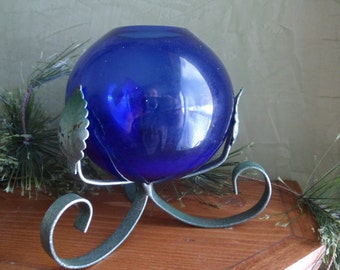 Cobalt Blue Bubble vase with Metal Stand