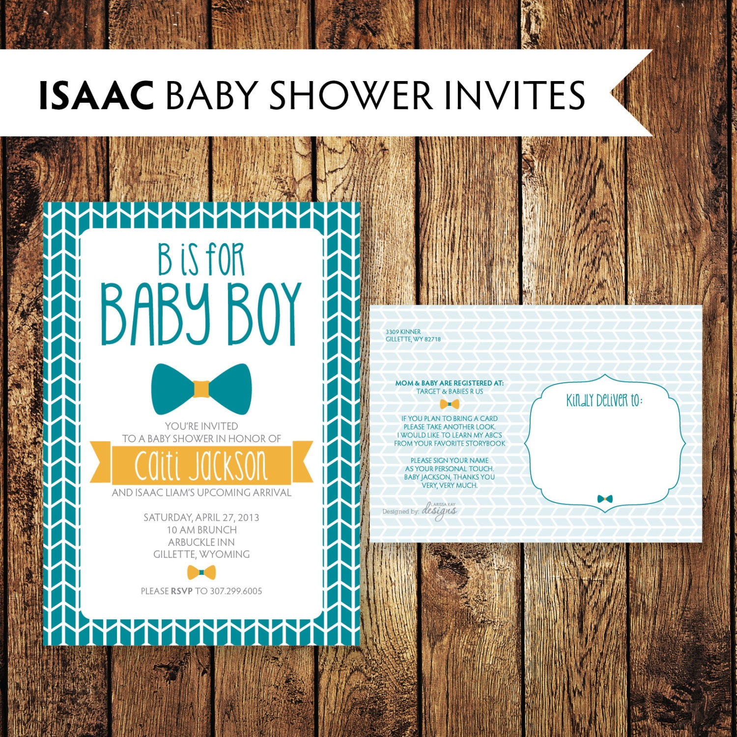 isaac baby boy bow tie baby shower invitation little