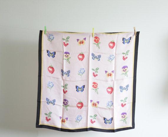 Echo vintage silk scarf, pink, butterfly, strawberry, flower, cherry, spring fashion