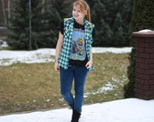 Studded Checked Shirt Vest Spikes Vintage  DIY 90s
