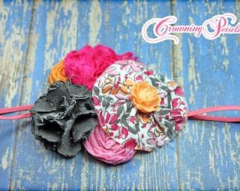 Hot Pink, Grey, Orange, Fabric Flower Headband, Hair Bows, Girl's Hair Accessories, Fuchsia Pink Hair Clip, Flower Brooch, Baby,