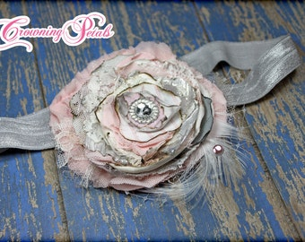 Light Pink, Silver Shabby Chic Headband, Grey Hair Bow, Baby Girls Hair Bow, Hair Accessory, Blush Fabric Flowers, Flower Brooch