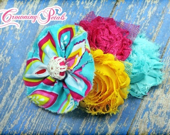 Shabby Chiffon Hair Bow, Magenta, Baby Hair Accessories, Pink, Yellow, Turquoise Headband, Fabric Flowers, Hair Clip, Fabric Flower Brooch