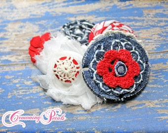 July 4th Hair Accessories, Red, White, Navy Blue Headband, Baby Girl Hair Bow, Fabric Flower Hair Accessory, Hair Clip, Fabric Flower Brooch